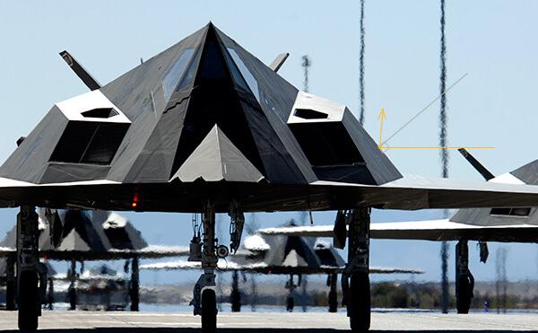 Малая заметность с помощью формы F-117A, геометрия